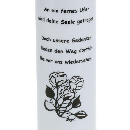 Grablicht Weiß mit Spruch im Mix Ø7cm H24,5cm 6St