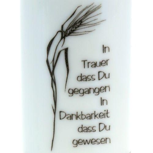 Grablicht Weiß mit Spruch Ø7,5cm H21,5cm