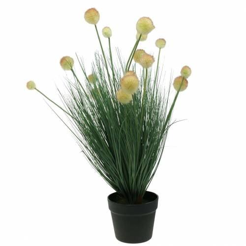 Gras mit Blüten im Topf künstlich Gelb 70cm