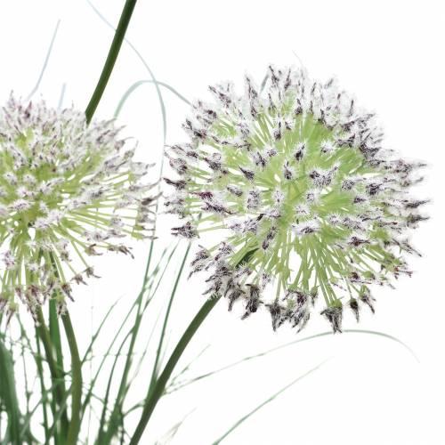 Gras mit Blüten im Topf künstlich Lila 70cm