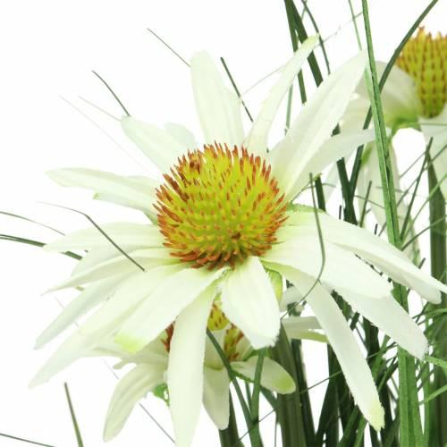 Gras mit Echinacea künstlich im Topf Weiß 52cm