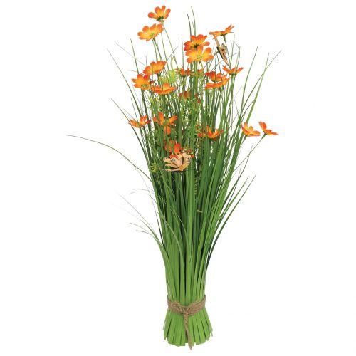 Grasbund mit Blüten und Schmetterlingen Orange 70cm