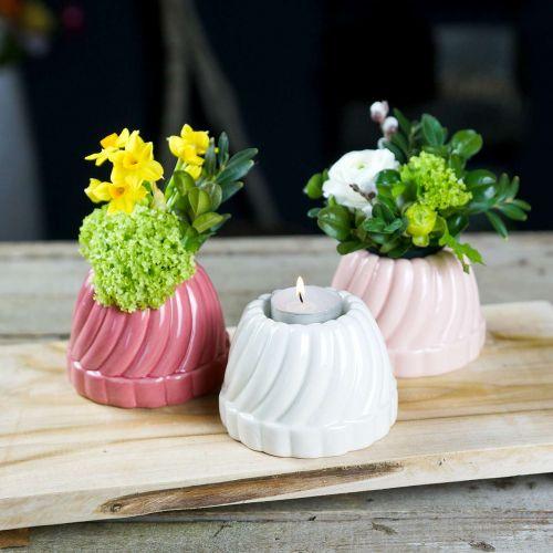 Gugelhupf Teelichthalter, Tischdeko, Kerzenhalter Backform, Deko-Kuchen H7cm 3St