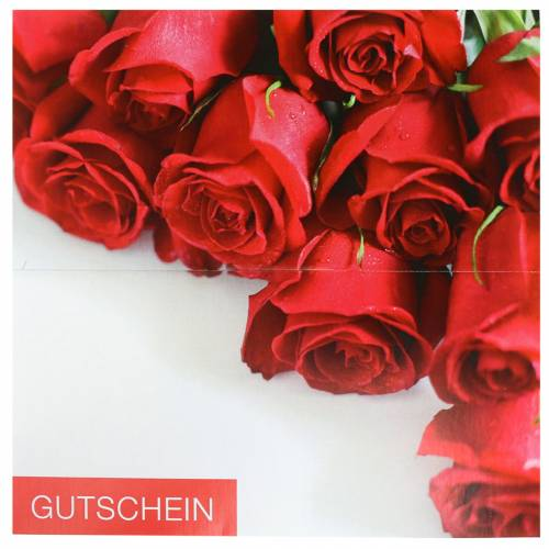 Gutscheinkarte.Gutscheinkarte Rote Rosen Umschlag 1st