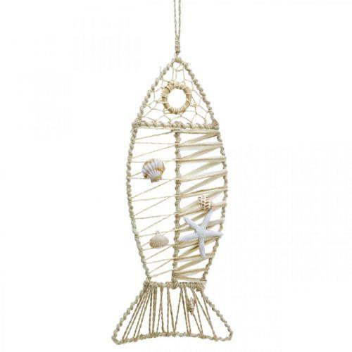 Maritime Fischdeko mit Flechtwerk und Muscheln, Dekohänger Fischform Natur 38cm