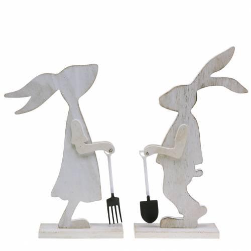Hase mit Gartengeräten Weiß Holz H28/30,5cm 2er Set
