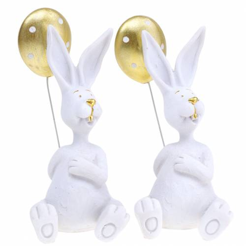 Hase mit Luftballon Sitzend Weiß, Gold H13,5cm 2St