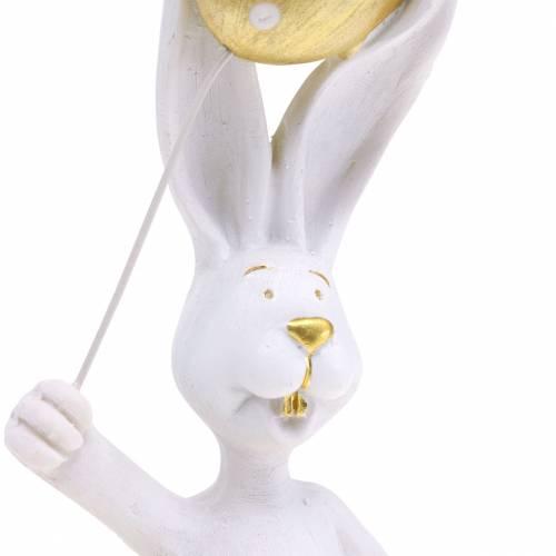 Osterhase mit Luftballon Stehend Weiß Gold H18cm 2St