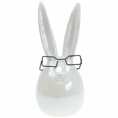 Osterhase mit Brille Weiß Perlmutt Keramik H27cm