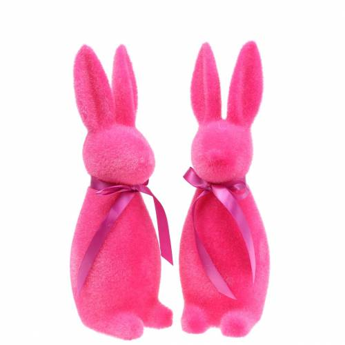 Hase beflockt Pink H30cm 2St