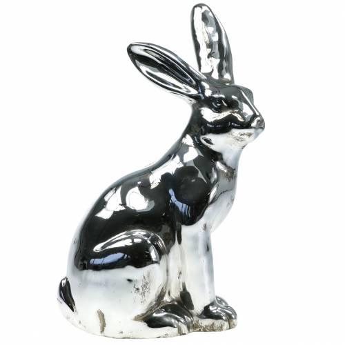 Hase Silber Antik H35cm Großer Dekohase für Schaufenster