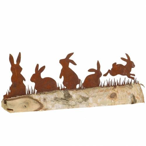 Hasenfamilie Metall Rost auf Holzfuß Birke 25cm H9cm