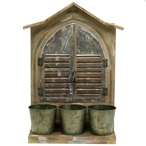 Deko Fenster Holz Mit 3 Blumentopfen H49cm Preiswert Online Kaufen