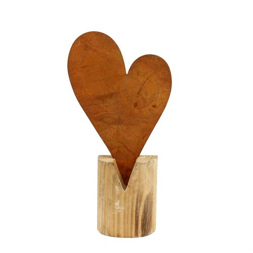 Herz Rost am Holzfuß 22cm x 11cm