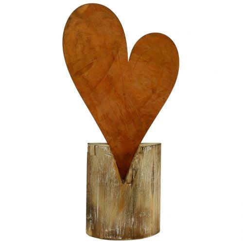 Herz Rost am Holzfuß 40cm x 20cm
