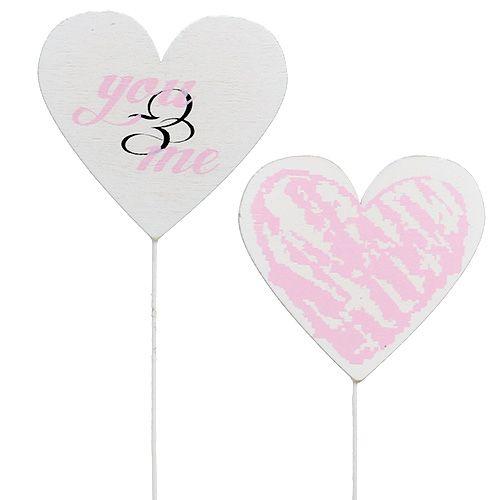 Herz am Stab 7cm Weiß, Rosa 12St