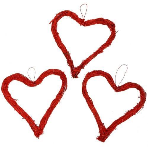 Herzen aus Bast zum Hängen Rot 10cm 12St