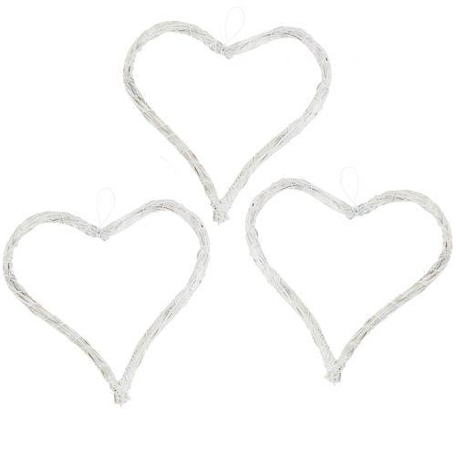 Herz aus Bast zum Hängen Weiß 10cm 12St