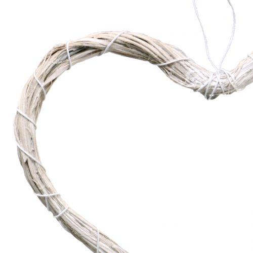 Herz aus Bast zum Hängen Weiß 20cm 6St