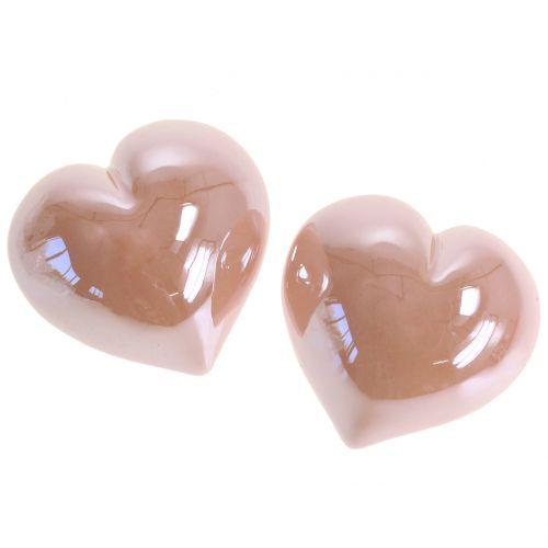 Herz Rosa Perlmutt 7cm 4St