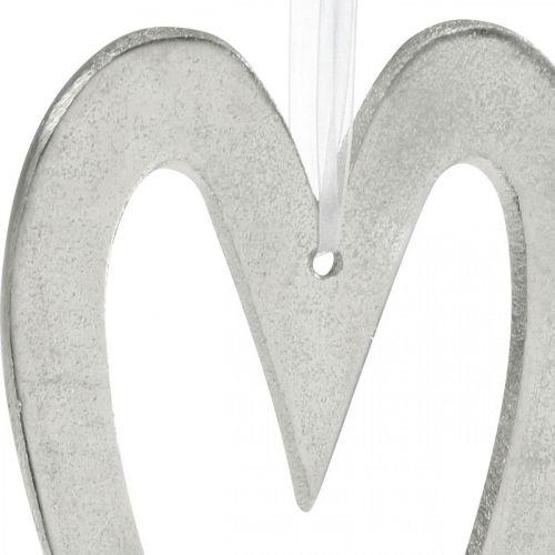 Deko Herz zum Aufhängen Silbern Aluminium Hochzeitsdeko 22×12cm