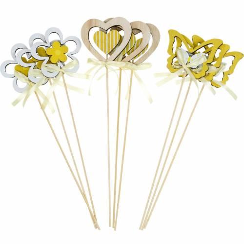 Dekostecker Schmetterling Blume und Herz, Frühlingsdeko, Blumenstecker, Valentinstag 9St