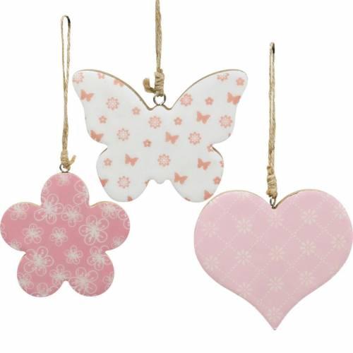 Hängedeko Herz Blume Schmetterling Weiß, Rosa Holz Frühlingsdeko 6St