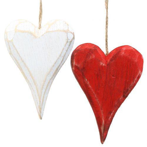 Herzen aus Holz zum Hängen Rot, Weiß 11,5cm 4St