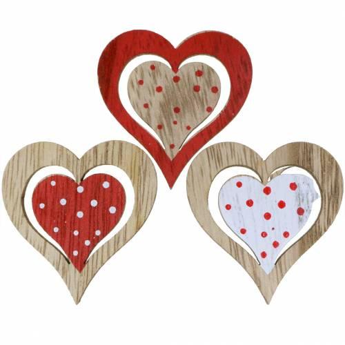Herz Rot, Weiß, Natur Sortiert Holz 4,5x4,5cm 24St