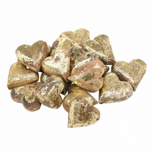 Herzen aus Holz Natur, Golden, Silbern Mangoholz 3,5–4,2cm × 3,6–4,5cm 18St