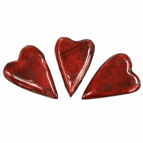 Herzen aus Mangoholz Glasiert Rot 6,2–6,6cm × 4,2–4,7cm 16St