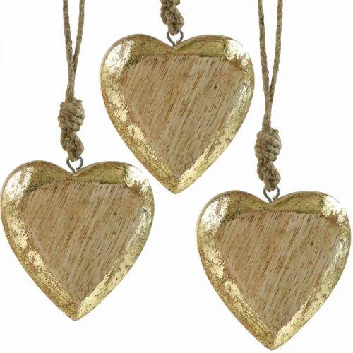 Herzen zum Hängen, Mangoholz, Holzdeko mit Gold-Effekt 8,5cm × 8cm 6St