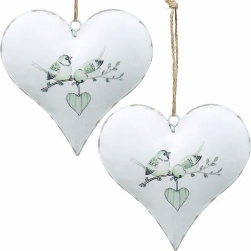 Dekohänger Herz mit Vogelmotiv, Herz-Deko zum Valentinstag, Metallanhänger Herzform 4St
