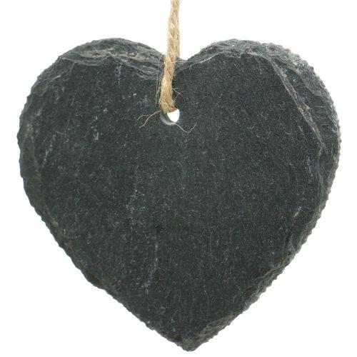 Schiefertafeln Herz zum Hängen 7 x 7,5cm 6St