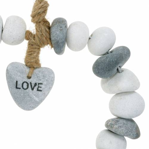 """Herz zum Hängen """"Love"""" aus Flusskieseln Natur, Grau/Weiß Ø18cm 1 St"""