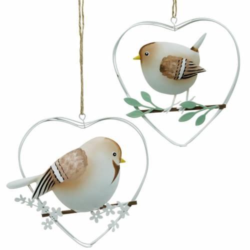 Herzanhänger mit Spatzen, Frühlingsdeko, Metallherz, Valentinstag, Vogelherz 4St