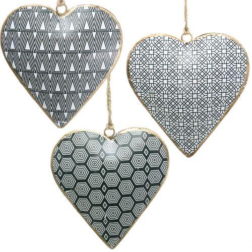 Herz zum Hängen  Schwarz-Weiß mit Muster 10cm 2st