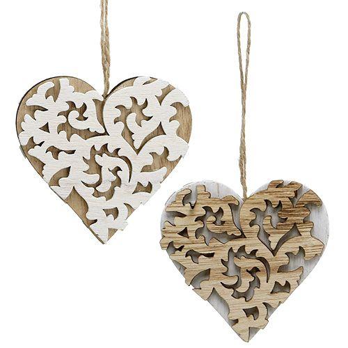 Herz aus Holz natur im Antik-Look für Haus und Garten