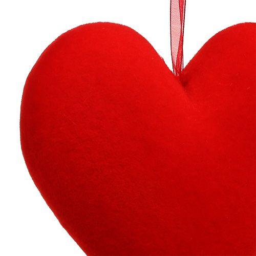 Herzen beflockt 15cm Rot 4St