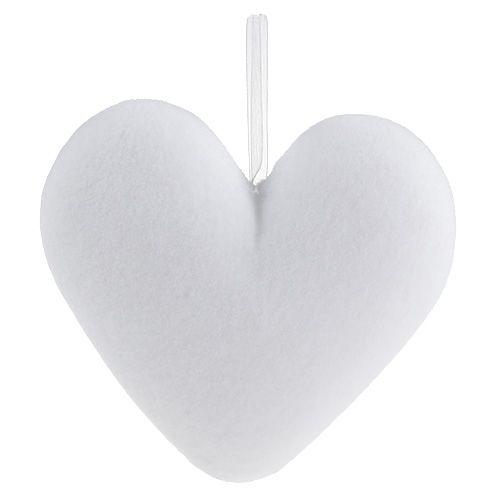 Herzen beflockt zum Hängen 15cm Weiß 4St
