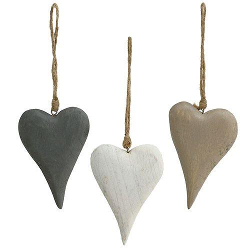 Deko Herzen Zum Aufhängen.Herzen Zum Hängen Weiß Grau 12cm L21cm 3st
