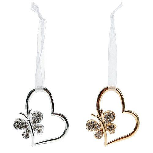 Herzen zum Hängen mit Schmetterling 7cm Silber, Gold 2St
