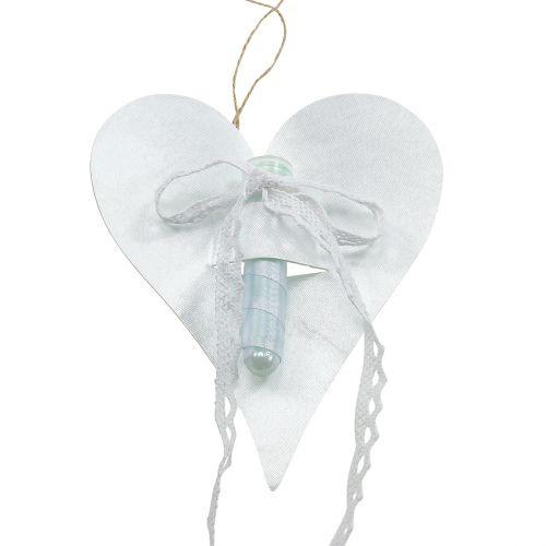 Herz Hänger mit Orchideenröhrchen Weiß 16cm 6St
