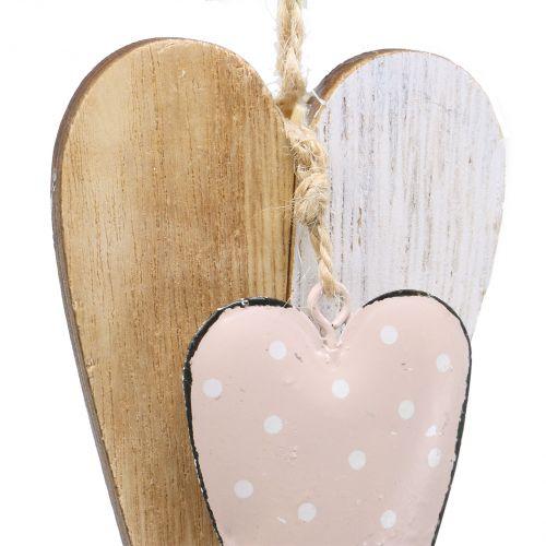 Herzhänger Rosa-Natur 12cm 8St