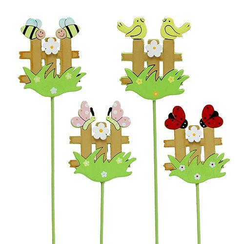 Holz-Stecker Zaun mit Tieren 6,5cm sort. 12St