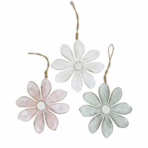 Pastellige Deko-Blüten, Sommerblumen, Holzblüten, Blumendeko zum Hängen Ø12,5cm 3St