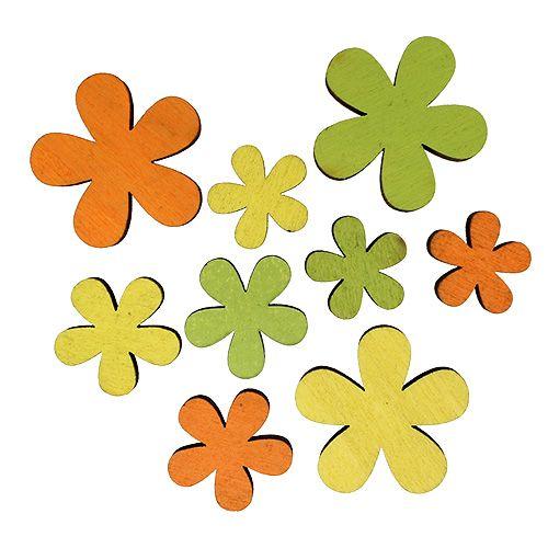 Holzblume 2-3,5cm Orange, Grün, Gelb 36St