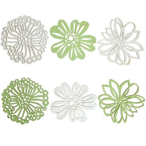 Holzblume Grün/Weiß 5cm 36St