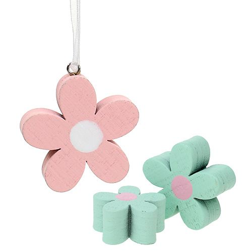 Holzblumen zum Hängen, Streudeko Rosa, Grün 12St