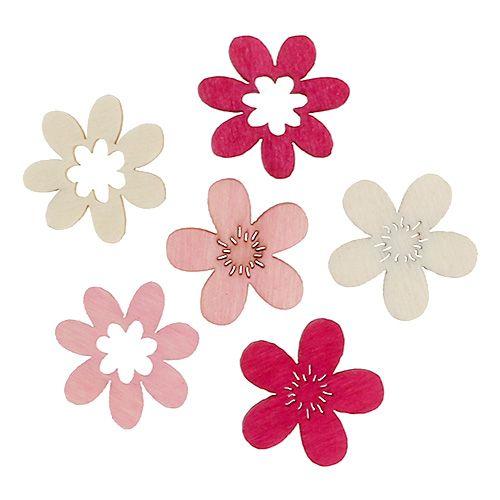 Holzblumen Streudeko 2cm Pink sort. 144St